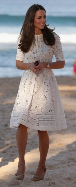 white crochet fit and flare summer dress with half sleeves