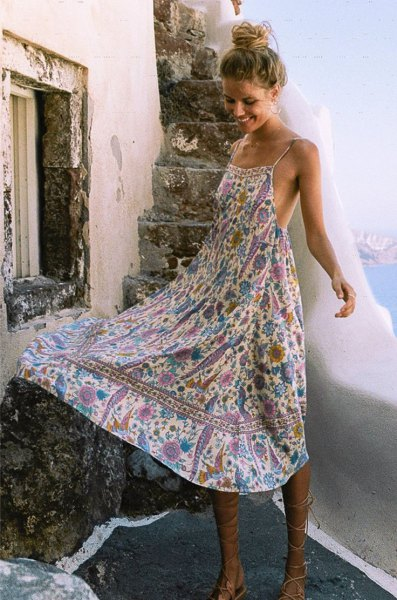 floral printed midi flare dress with gladiator sandals