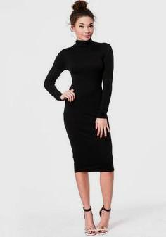 Long sleeve midi dress with stand-up collar and open toe heels