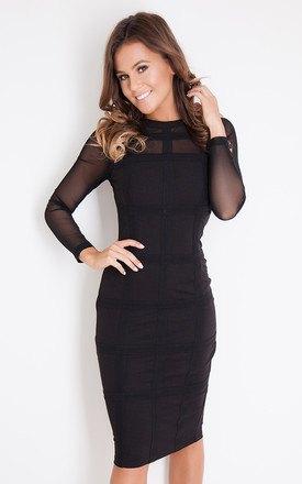 semi-transparent black body-hugging midi dress