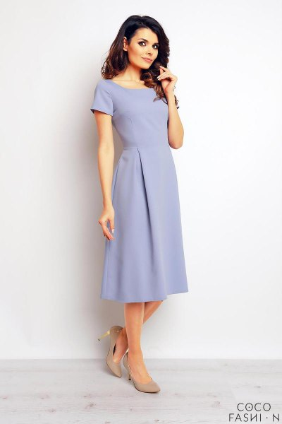 light blue midi dress with chiffon short sleeves and boat neckline