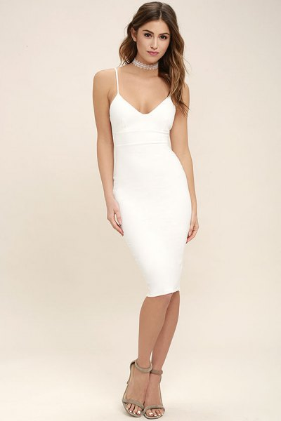Spaghetti strap deep v-neck bodycon slip midi dress with silver necklace