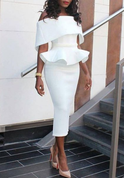 pleated shoulder ruffles peplum midi bodycon dress