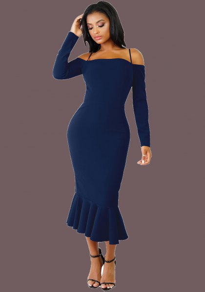 dark blue long-sleeved midi mermaid dress with a cold shoulder