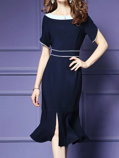 deep blue midi slit mermaid dress with boat neckline