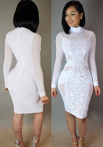 white long-sleeved lace midi dress with mock-neck lace