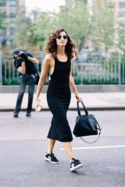 black midi mermaid dress with scoop neck and sneakers
