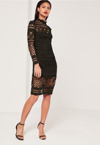 black long sleeve crochet mock neck midi lace dress