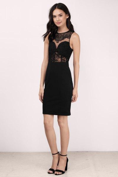 black sleeveless, semi-transparent midi dress with open toe heels
