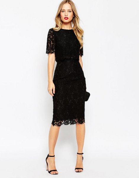 Lace midi dress with serrated edge and open toe heel