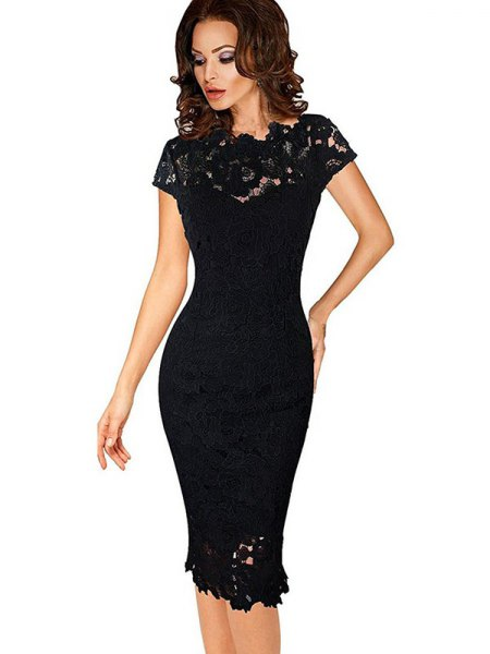 black bodycon lace midi dress with cap sleeves