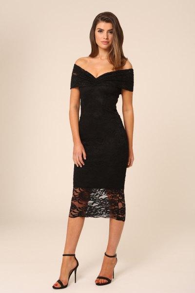 black body-hugging midi lace dress