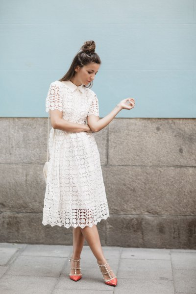 white lace midi dress with pointed sequins toe heels