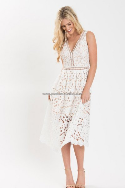 white midi lace dress with v-neck and flared tank and open toe heels