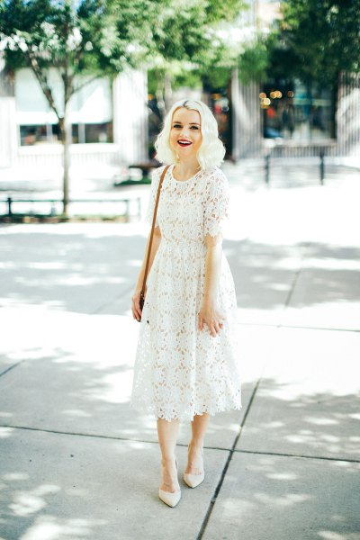white midi lace dress with pointed toe heels