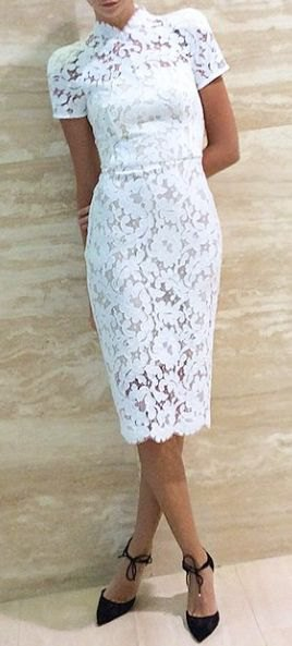white, short-sleeved, figure-hugging lace midi dress with stand-up collar