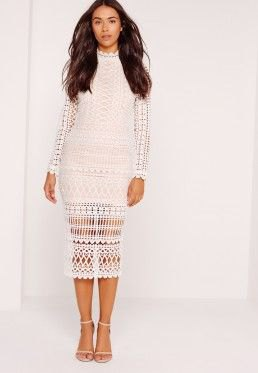 white midi sheer long sleeve lace dress