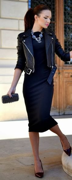 black leather jacket with midi dress and heels