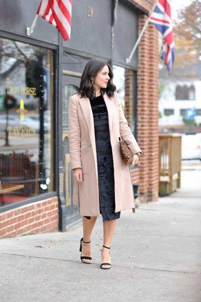 Light pink midi blazer with black velvet dress and open toe heels