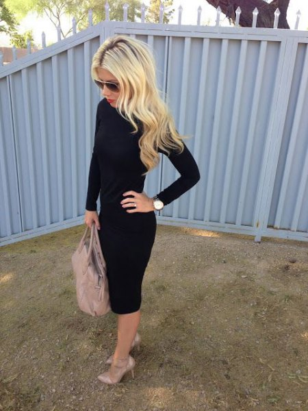 black bodycon midi cotton dress with long sleeves