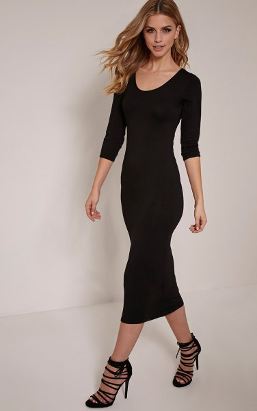 Bodycon midi dress with three-quarter scoop neck and open strappy heels