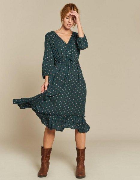 green ruffled hem v-neck, long-sleeved polka dot midi dress with mid-calf boots