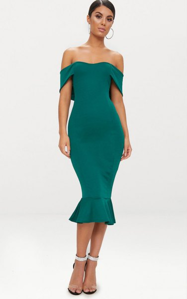 green off the shoulder midi mermaid dress