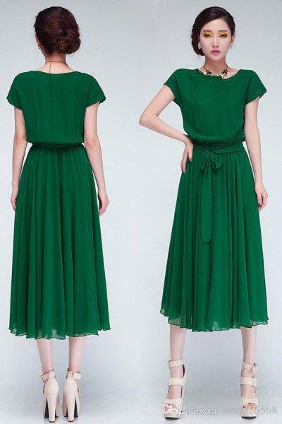 green chiffon pleated midi dress with waistband