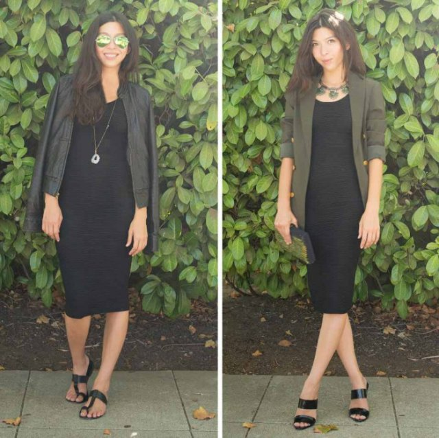 Leather jacket with midi dress and black sandals