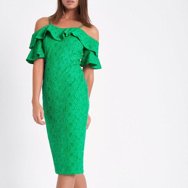 light green lace midi dress with frill neckline