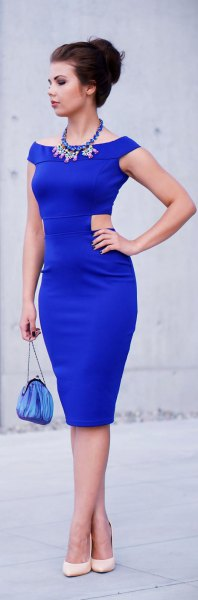 royal blue bodycon midi dress with a boat neckline