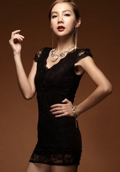 black cap sleeve v-neck super mini bodycon lace dress