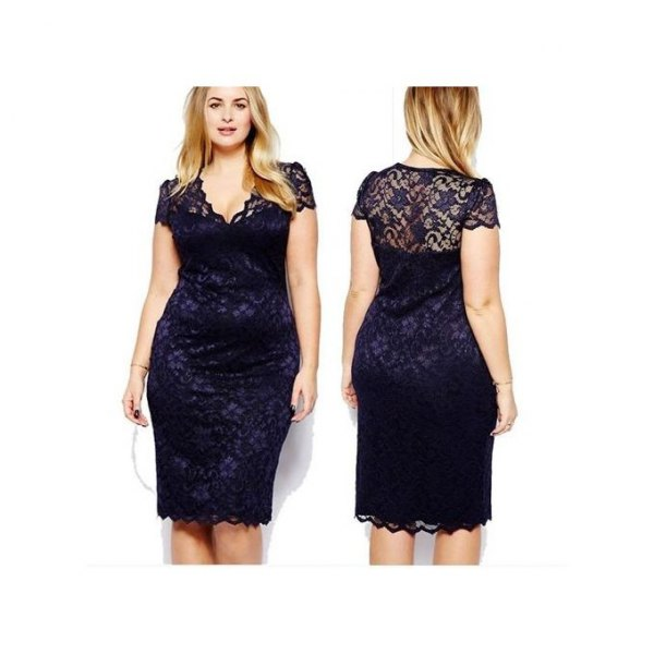 black, semi-transparent, knee-length lace dress with scalloped hem
