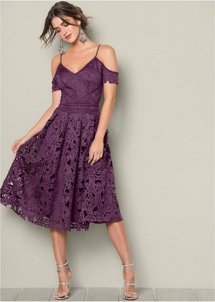 purple two-tone cold shoulder fit and flared midi lace dress