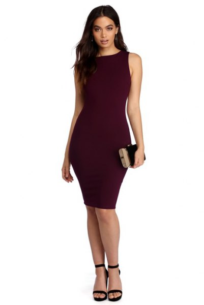 purple, form-fitting, sleeveless midi dress with black, open toe heels