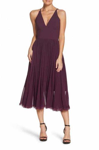 sleeveless midi dress with deep V-neck and black, open toe heels