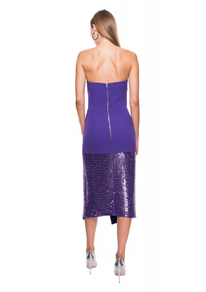 royal blue and purple midi sequin dress with metallic heels