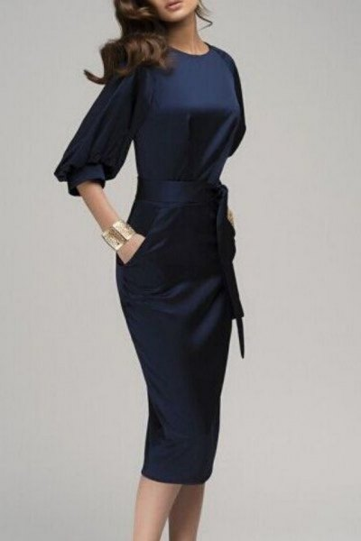 dark blue silk tie midi dress with half sleeves