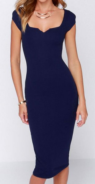 Cap sleeve square neckline Navy blue midi dress