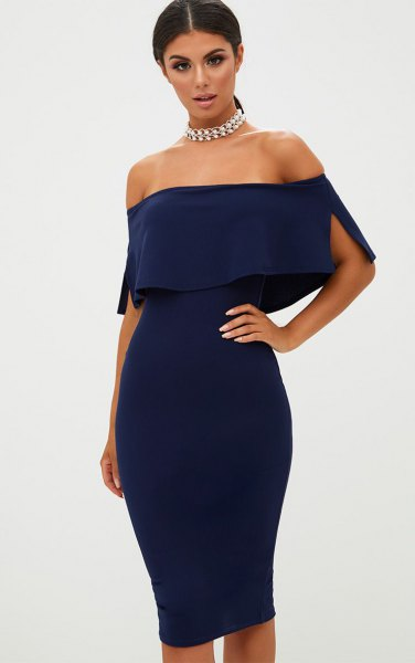 off shoulder, figure-hugging midi dress with silver choker necklace