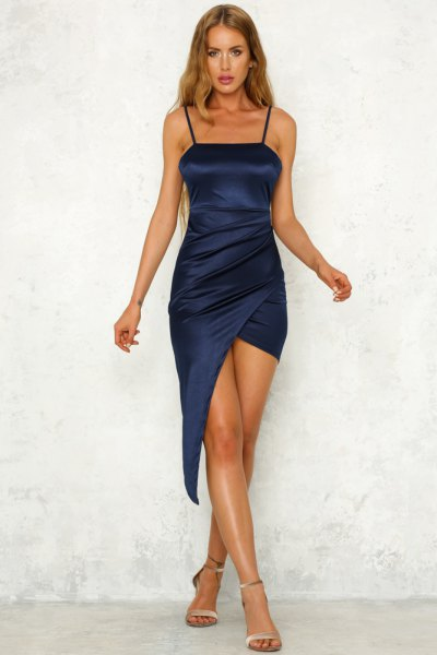 Bodycon wrap dress in silk midi navy blue with rose gold heels