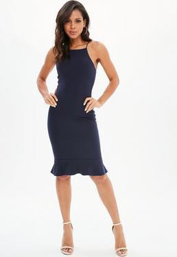 Dark blue midi dress with frill hem and halter