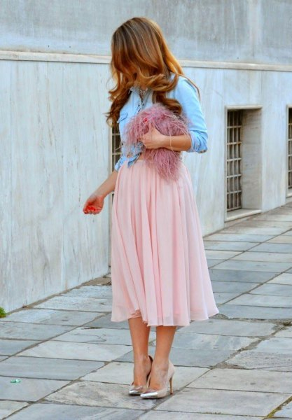 Light blue denim jacket with light pink midi chiffon midi skirt