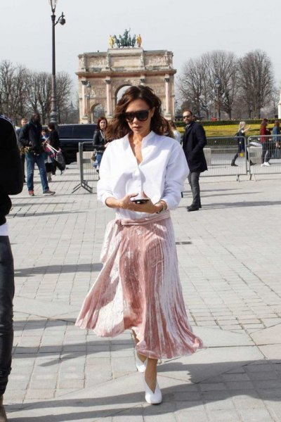 white shirt with button and pink velvet midi skirt