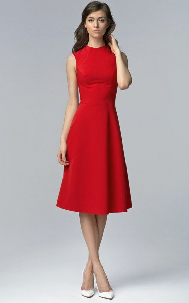 red sleeveless fit & flare midi dress with white heels