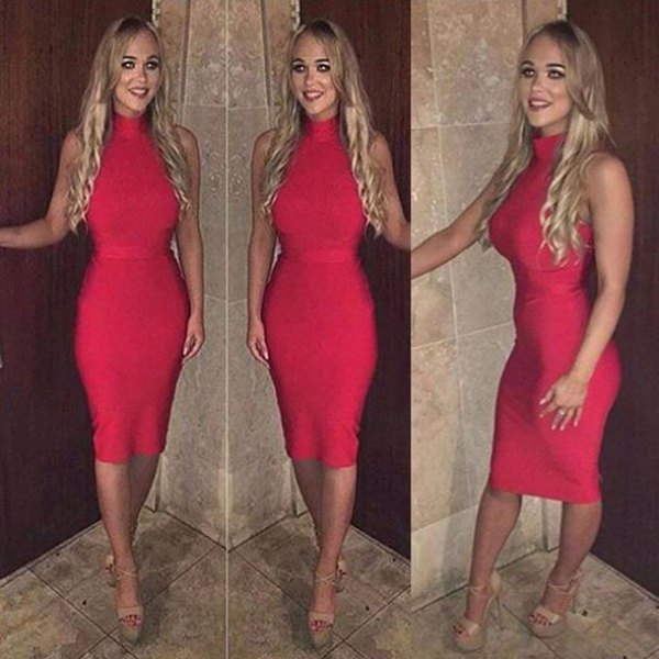 red, form-fitting, sleeveless midi dress with mock neck and open toe platform heels