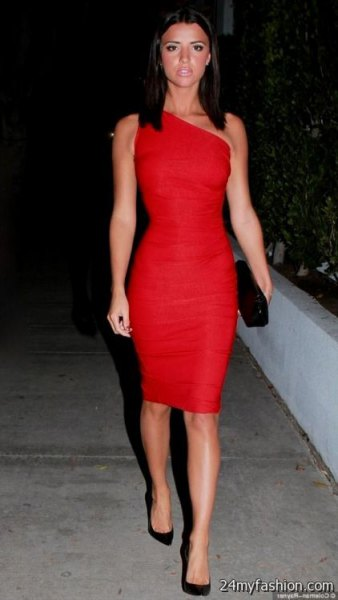 A strapless, form-fitting midi dress with black suede heels