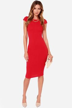 red bodycon midi dress with cap sleeves and white clutch wallet