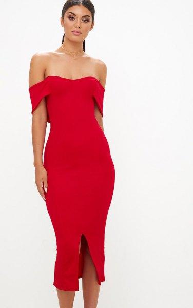 red strapless midi slit dress
