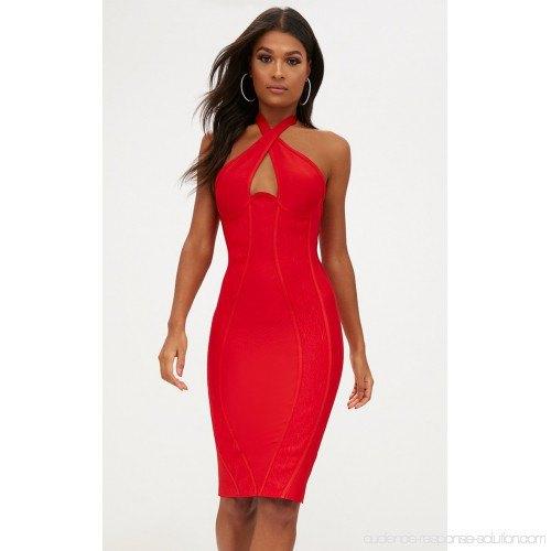 red halter neckline front body-hugging midi dress